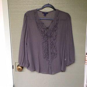 NWOT- GAP XL 100% silk grey blouse